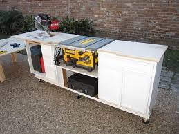 diy table saw stand recycling old furnitures 1 recycling a built in desk to workbench