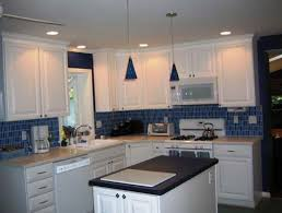 blue tile backsplash kitchen white kitchen with blue tile backsplash home design ideas