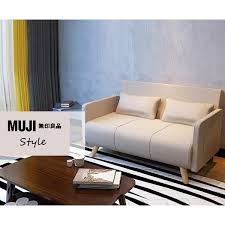 Muji Style Japan Design Simple Natural Linen Solid Wood  Seater - Muji sofas