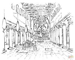 the early christian basilica coloring page free printable