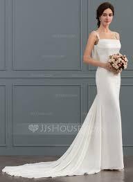 satin wedding dresses trumpet mermaid square neckline chapel satin wedding dress