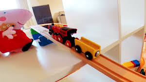 Making Wooden Toy Train Tracks by Massive Wooden Mega Block Train Set With Peppa Pig Toy Train