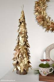 make an easy stunning gold leaf tabletop tree