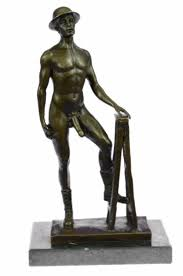 ancient egyptian home decor bronze statue male art sculpture