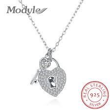 sted necklaces modyle 925 sterling silver key and heart lock pendants choker