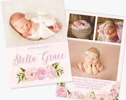 announcement cards baby announcement card etsy
