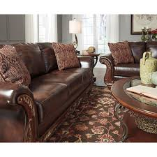 Fake Leather Sofa by Traditional Faux Leather Sofa With Wood Trim U0026 Rolled Arms By