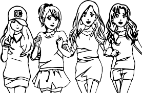 four anime best friends forever coloring page wecoloringpage