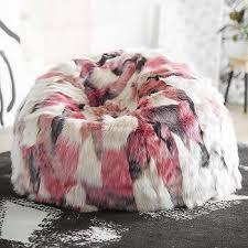 grey faux fur chevron beanbag