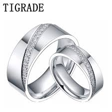 matching titanium wedding bands 6mm 8mm titanium ring men women cz inlay promise jewelry eternity