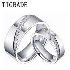 couple rings titanium images 6mm 8mm titanium ring men women cz inlay promise jewelry eternity jpg