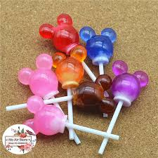 mickey mouse hair bow 10pcs resin 3d mickey mouse translucence lollipop mix color crafts
