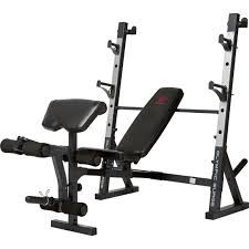 Weight Bench With Bar - marcy deluxe olympic weight bench strength training sports