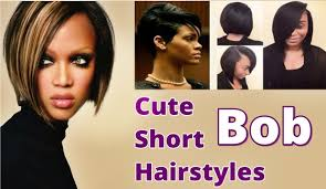 cute short bob hairstyles with fringe bangs for black women