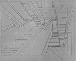 a two point perspective drawing of the main stairs in the west