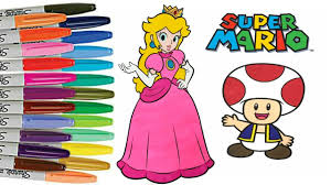 super mario bros coloring book page princess peach toad coloring