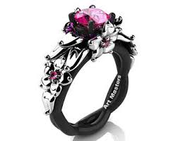 Black And Pink Wedding Rings by Designer Direct Engagement And Bridal Jewelry By Artmasters