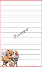 teddy student stationery free printable