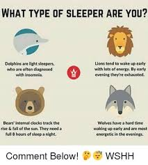 Insomnia Meme - what type of sleeper are you lions tend to wake up early dolphins