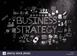 hand drawn business strategy on dark texture background as concept