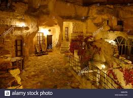 urgup evi rock house cave hotel at night in cappadocia turkey