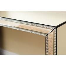 Mirror Sofa Table by Mirrored Sofa Table Console Side Silver Studded Contemporary