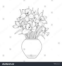 vase flowers narcissus daffodil flowerpot isolated stock vector