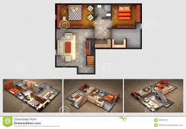 Finished Basement House Plans Rendered House Plan And Three Isometric Section Views Stock
