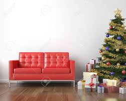 red couch and christmas tree with presents in a white clean room