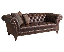 Tufted Brown Leather Sofa Plush Brown Leather Tufted Sofa Chesterfields Wing Arms And