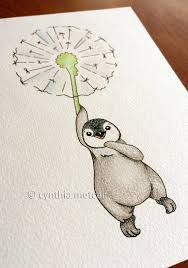 penguin dandelion nursery art original drawing by dandeliontickles