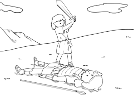 David Cut Off Goliath S Head With The Sword Coloring Page Free Cut Coloring Pages