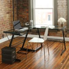 modern contemporary desks walker edison soreno 3 piece corner desk black with black glass