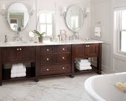 classic white marble floor with wooden vanity and elegant wall