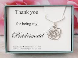 gift for bridesmaid gift sterling silver necklace thank you
