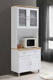 gremlin wheeled kitchen storage sideboard buffet cabinet white wood kitchen cabinet with hutch countertop microwave white china