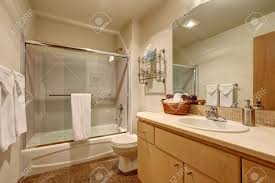 traditional bathroom interior in american house has tile flooring