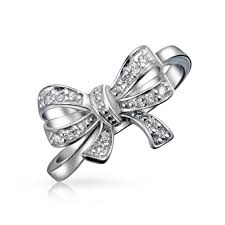 sterling silver cubic zirconia ribbon bow ring rhodium plated