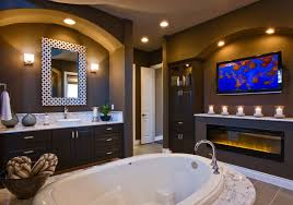 Custom Electric Fireplace by Jimmy Jacobs Custom Homes Vintage Oaks Contemporary Bathroom