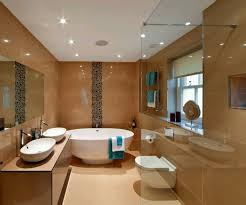 modern bathroom ceiling lighting small rug on the brown wood