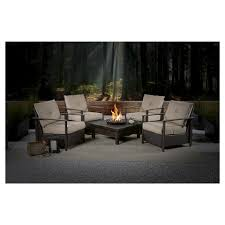 Outdoor Furniture With Fire Pit Table by Larkspur 5 Piece Wicker Patio Fire Pit Set Fire Pit Sets Patio