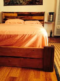 hand made reclaimed rustic bed frame with floating nightstands by