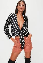tie front blouse black striped tie front blouse missguided
