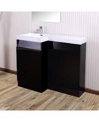 Sink Vanity Units For Bathrooms by Aston Left Hand Black Gloss Bathroom White Basin Vanity Unit
