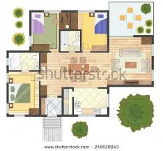colorful floor plan house stock vector 245620843 shutterstock