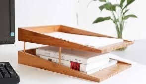 Desk Letter Organizer Bamboo Multi Tier Desk Organizer Tray Letter File Holder Feelgift