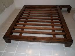 Modern King Size Bed Frame Bed Frame Low Profile Walnut Wood Platform Bed With Headboard