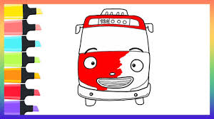 how to draw tayo the little bus coloring pages for kids nursery