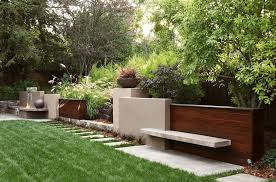 garden stucco wall landscape contemporary with planting