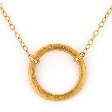 brushed gold brushed gold circle necklace elíz jewelry